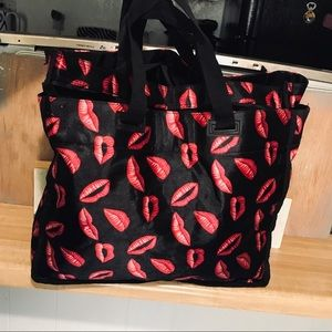 Handbags - Red Lips Bag Purse Black Handbag Cosmetic Tote